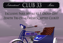 Club33 ZENITH-Tri-cycle Group Gift by Paris METRO Couture - Teleport Hub - teleporthub.com