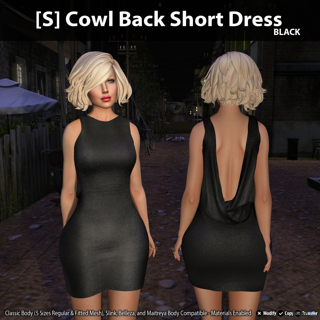 New Release: [S] Cowl Back Short Dress by [satus Inc] - Teleport Hub - teleporthub.com