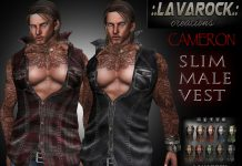Cameron Slim Male Vest Group Gift by Lavarock Creations - Teleport Hub - teleporthub.com