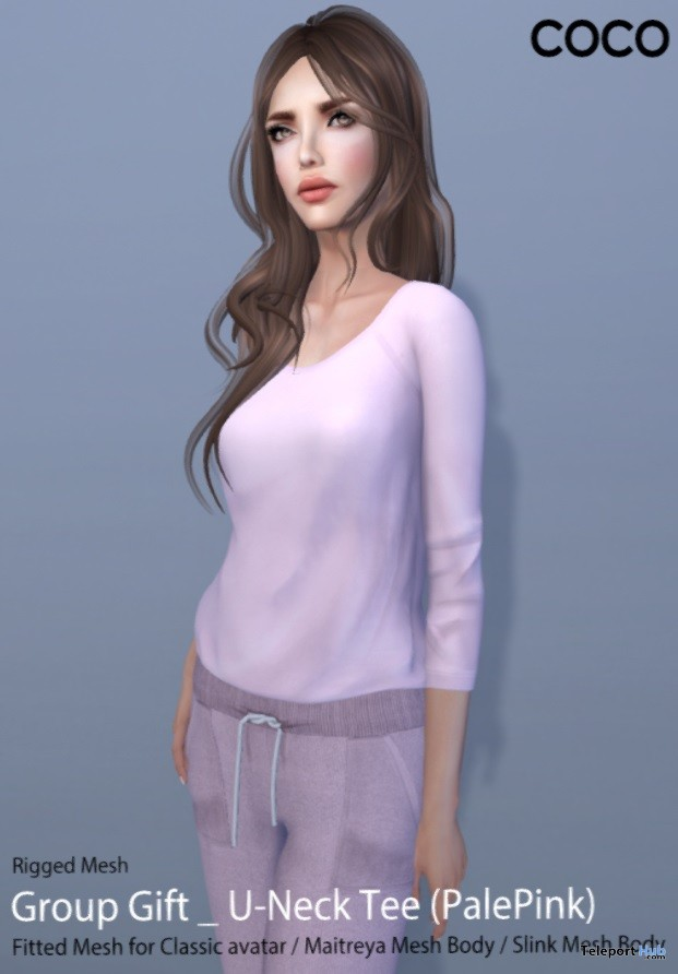U-Neck Tee Pale Pink Group Gift by COCO Designs - Teleport Hub - teleporthub.com