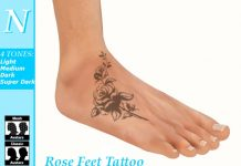 Rose Feet Unisex Tattoo with Omega Applier by Natti - Teleport Hub - teleporthub.com