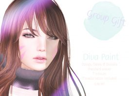Diva Paint Face Tattoo with Mesh Head Appliers Group Gift by Sorbet - Teleport Hub - teleporthub.com