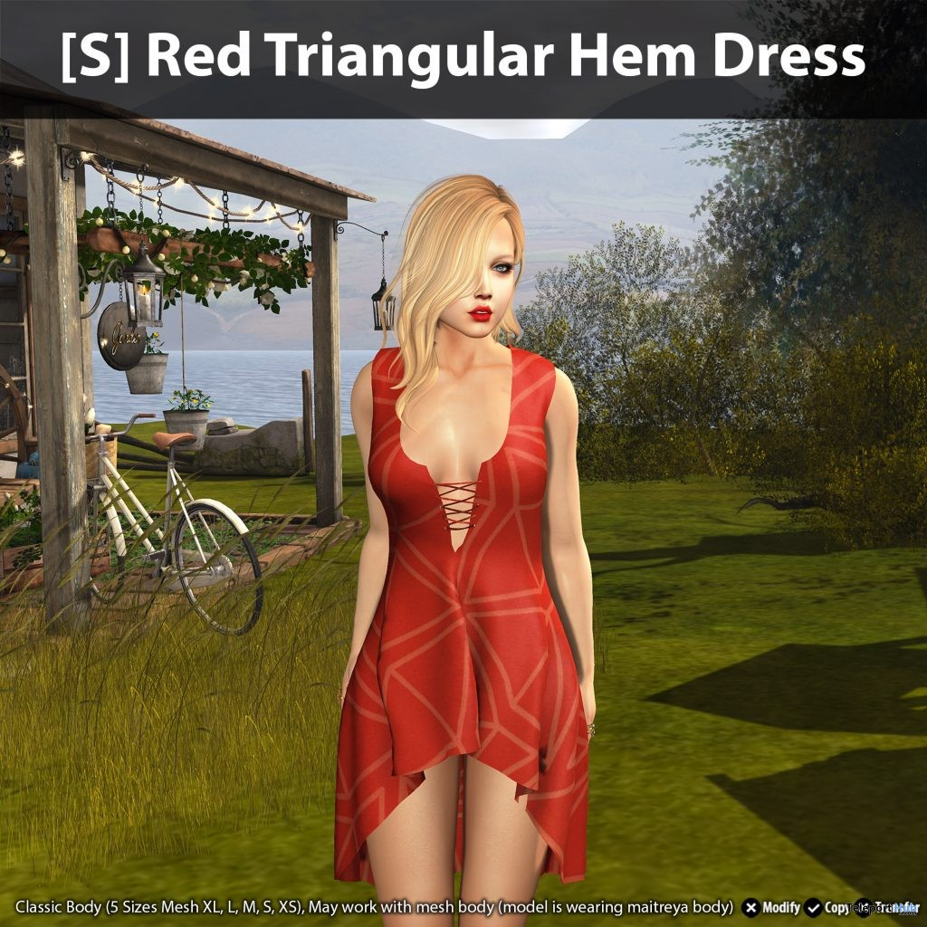 [S] Red Triangular Hem Dress Teleport Hub Group Gift by [satus Inc]