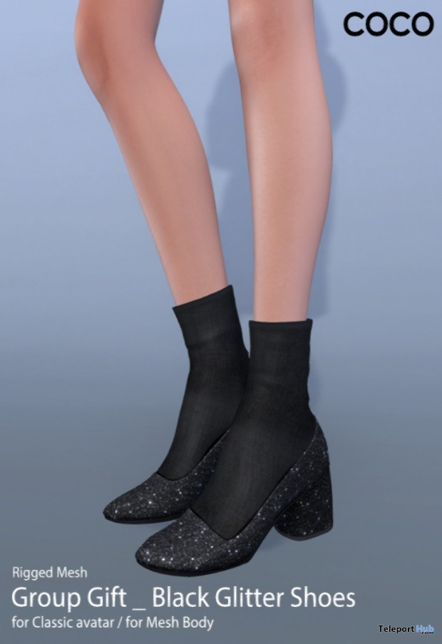 Black Glitter Shoes Group Gift by COCO Designs - Teleport Hub - teleporthub.com