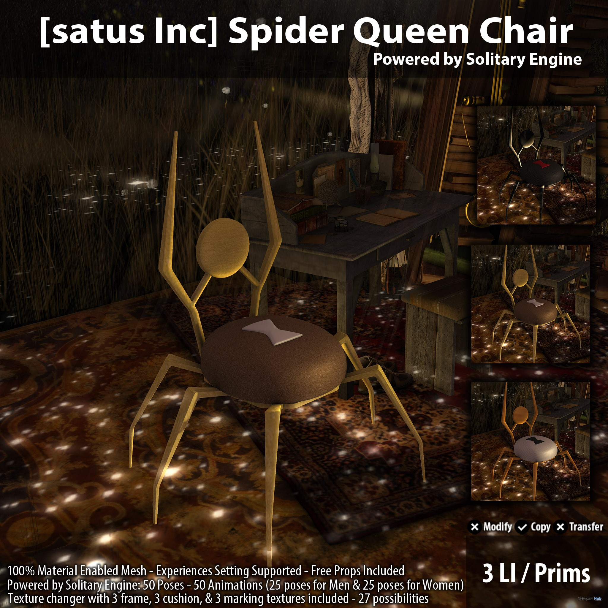 New Release: Spider Queen Chair by [satus Inc] - Teleport Hub - teleporthub.com