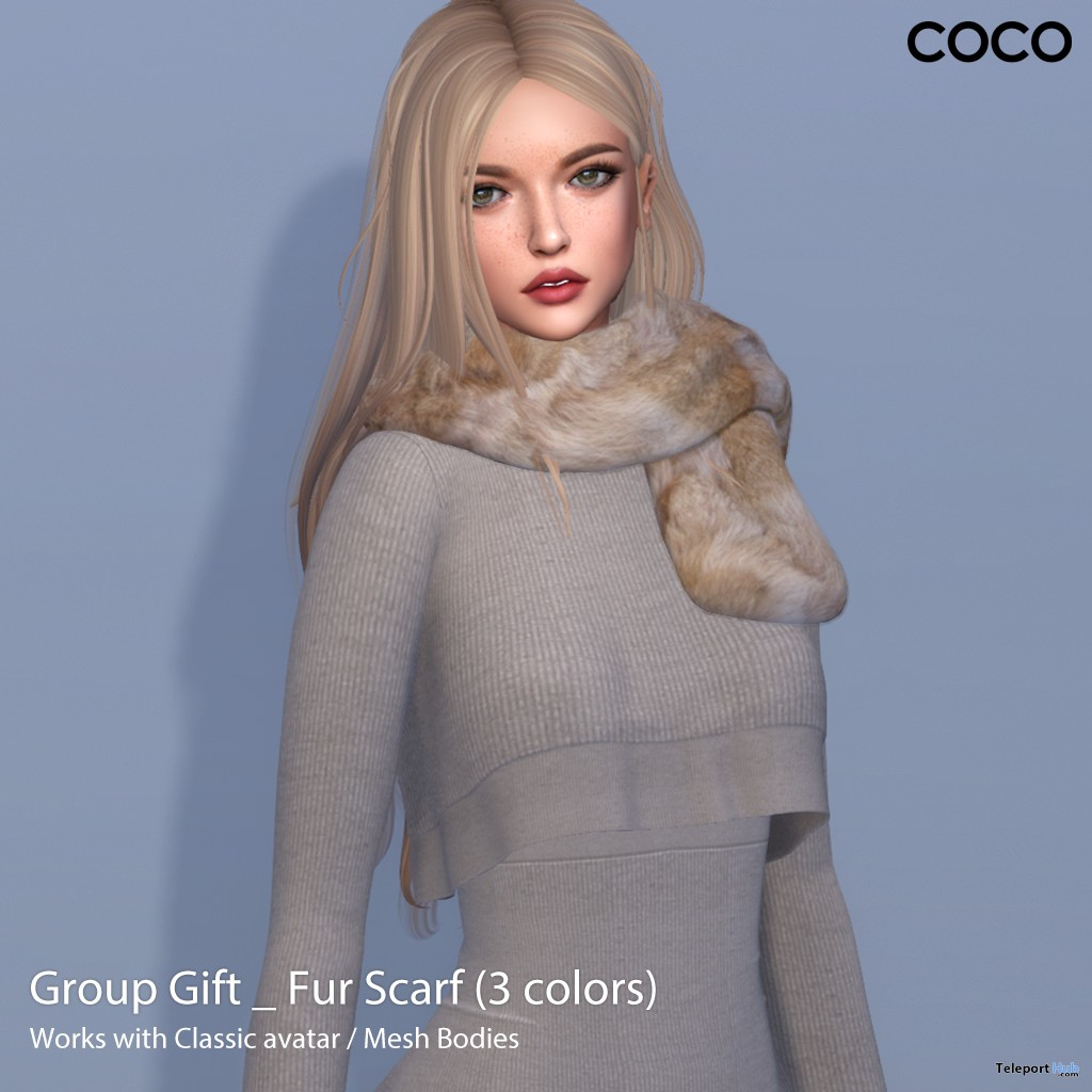 Fur Scarf 3 Colors Group Gift by COCO Designs - Teleport Hub - teleporthub.com