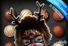 Reindeer Head Face Tattoo Group Gift by Brigadeiro - Teleport Hub - teleporthub.com