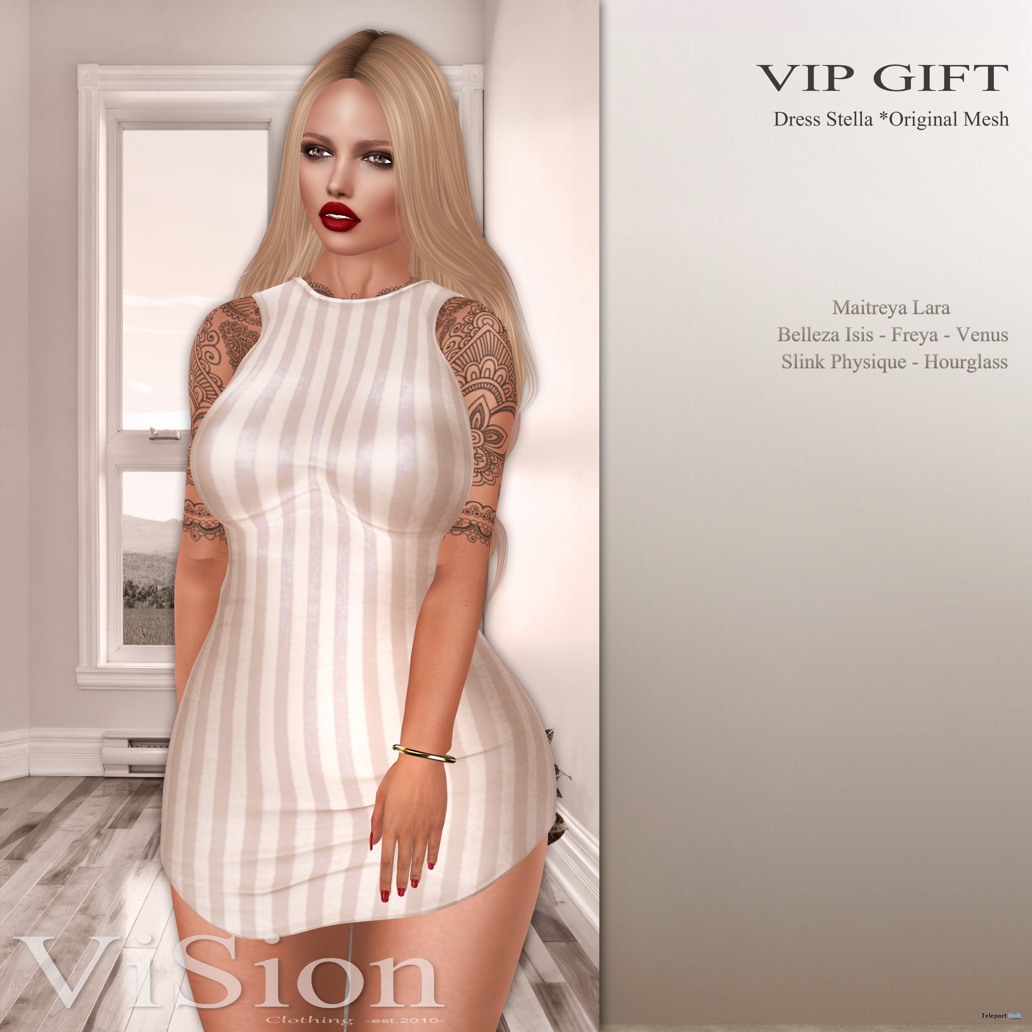 Stella Dress January 2017 Group Gift by ViSion S&F - Teleport Hub - teleporthub.com
