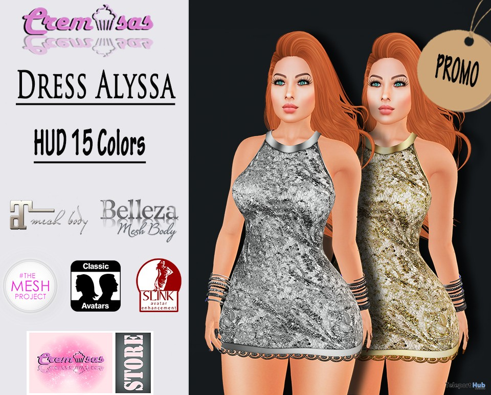 Dress Alyssa With 15 Colors HUD Group Gift by Cremosas - Teleport Hub - teleporthub.com