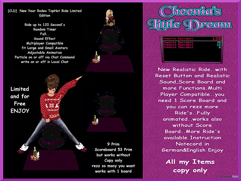 New Year Rodeo TopHat Ride Limited Edition Group Gift by Cheenia's Little Dream - Teleport Hub - teleporthub.com