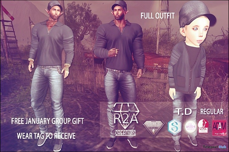 Outfits For Men and Kid Avatar January 2017 Group Gift by R2A Creations - Teleport Hub - teleporthub.com