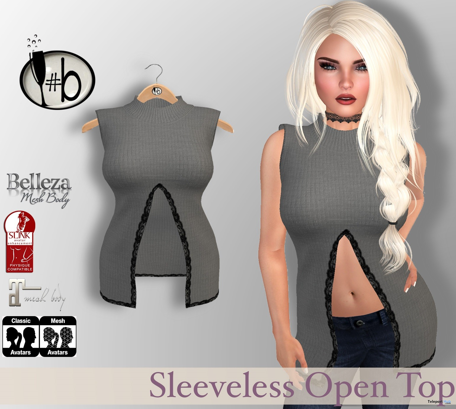 Sleeveless Top with Slit & Lace Accent January 2017 Group Gift by #bubbles - Teleport Hub - teleporthub.com