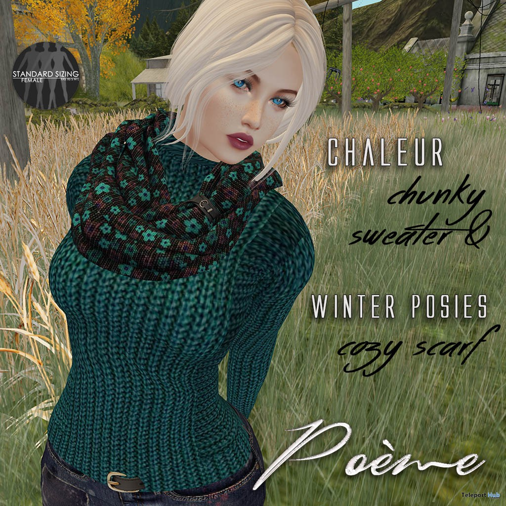Chaleur Sweater & Posies Scarf Set January 2017 Group Gift by Poeme - Teleport Hub - teleporthub.com