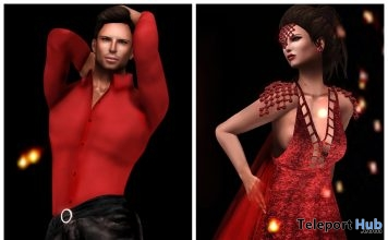 Passion Red Dress & Passion Male Outfit Group Gift by Vero Modero - Teleport Hub - teleporthub.com