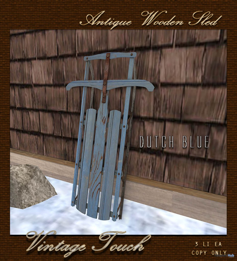 Antique Wooden Sled Dutch Blue January 2017 Group Gift by The Vintage Touch - Teleport Hub - teleporthub.com