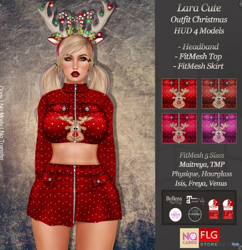 Lara Cute Christmas Outfit With HUD Group Gift by No Cabide & FLG - Teleport Hub - teleporthub.com
