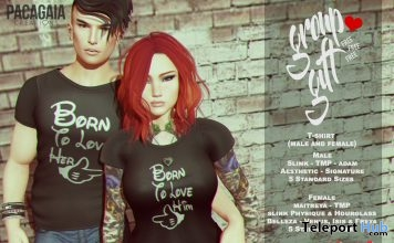 Couple T-Shirts Valentine 2017 Group Gift by Pacagaia Creations - Teleport Hub - teleporthub.com