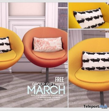 Chair With 7 Animation Poses March 2017 Group Gift by Ariskea - Teleport Hub - teleporthub.com
