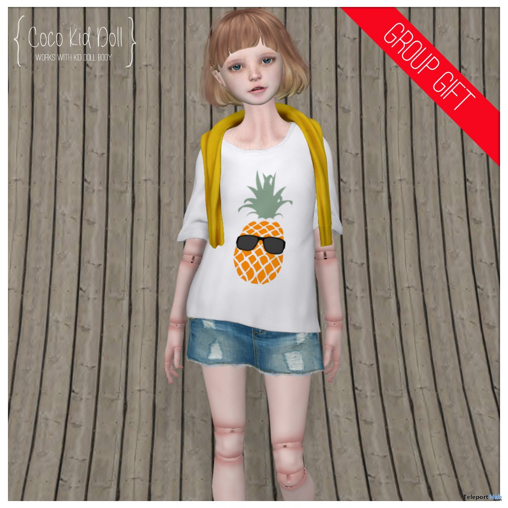 White Tee & Sweater Over Shoulders For Kid Doll Group Gift by COCO Designs - Teleport Hub - teleporthub.com