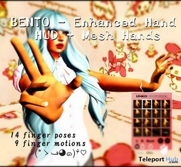 Enhanced Bento Hand and Universal Bento Hand Pose HUD Gift by UNKO - Teleport Hub - teleporthub.com
