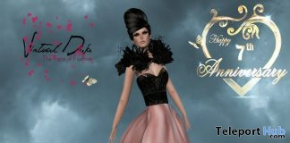 Queen Gown Couture Black and Rose 7th Year Anniversary Group Gift by Virtual Diva - Teleport Hub - teleporthub.com