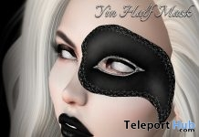 Yin Half Mask SL14B Exhibition Event Gift by Vengeful Threads - Teleport Hub - teleporthub.com