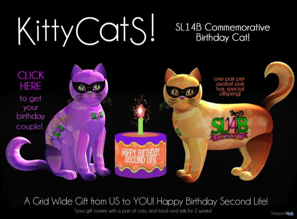 Commemorative Birthday Cat SL14B Exhibition Event Gift by KittyCatS! - Teleport Hub - teleporthub.com