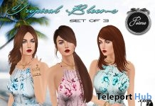 Tropical Blooms Sundresses Set August 2017 Group Gift by Poeme - Teleport Hub - teleporthub.com