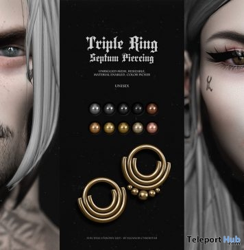 Triple Rings Septum Piercing Group Gift by Suicidal Unborn - Teleport Hub - teleporthub.com