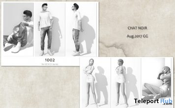 Pose Packs 1002 & 1202 For Men & Women August 2017 Group Gift by CHAT NOIR - Teleport Hub - teleporthub.com