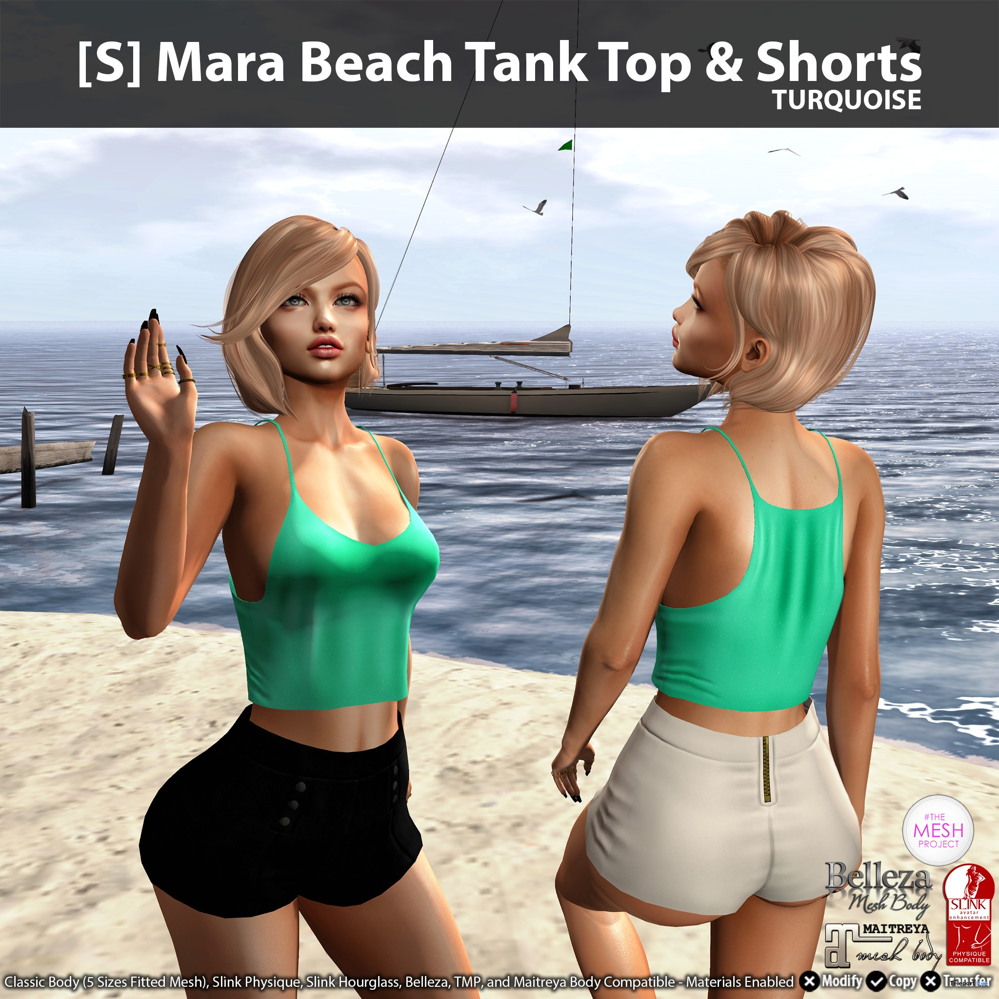 New Release: [S] Mara Beach Tank Top & Shorts by [satus Inc] - Teleport Hub - teleporthub.com
