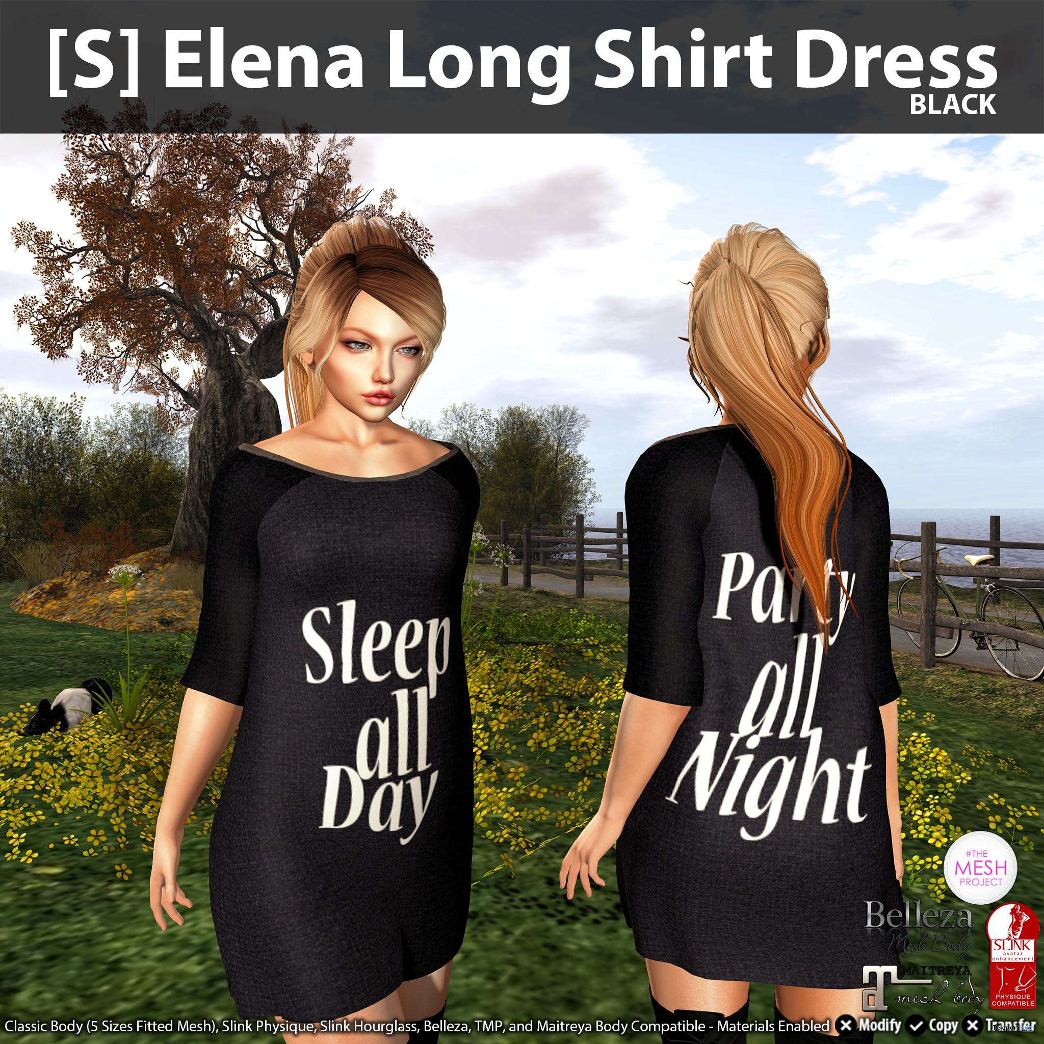 [S] Elena Long Shirt Dress Black Group Gift by [satus Inc] - Teleport Hub - teleporthub.com