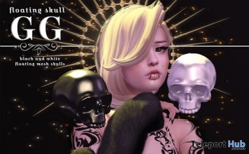 Floating Skull Black & White October 2017 Group Gift by Evermore - Teleport Hub - teleporthub.com