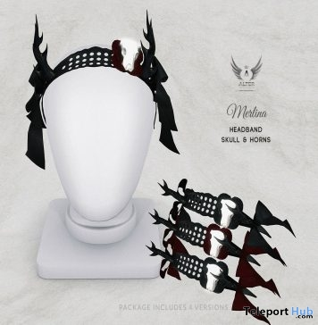 Merlina Headband Skull & Horns October 2017 Group Gift by ALTER - Teleport Hub - teleporthub.com
