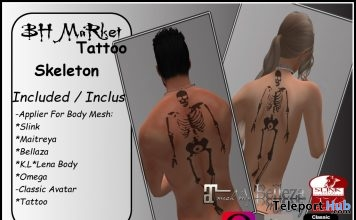 Skeleton Back Tattoo Unisex October 2017 Group Gift by BH MaRket - Teleport Hub - teleporthub.com