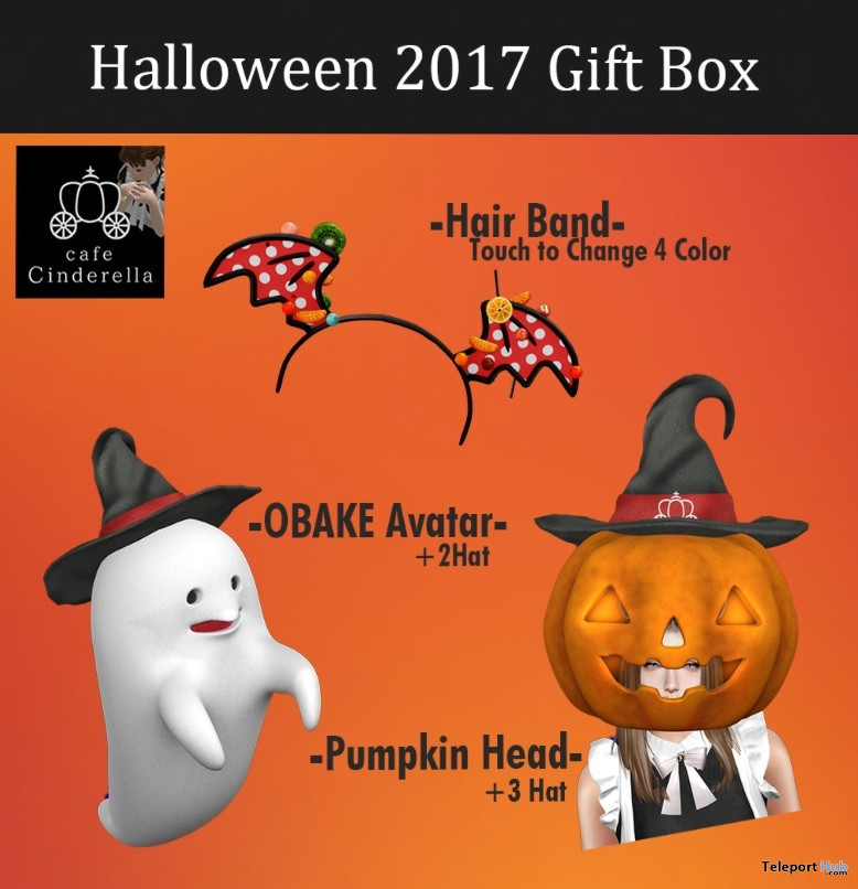 Hair Band, Obake Avatar, & Pumpkin Head With Hat Halloween 2017 Gift by Cafe Cinderella - Teleport Hub - teleporthub.com