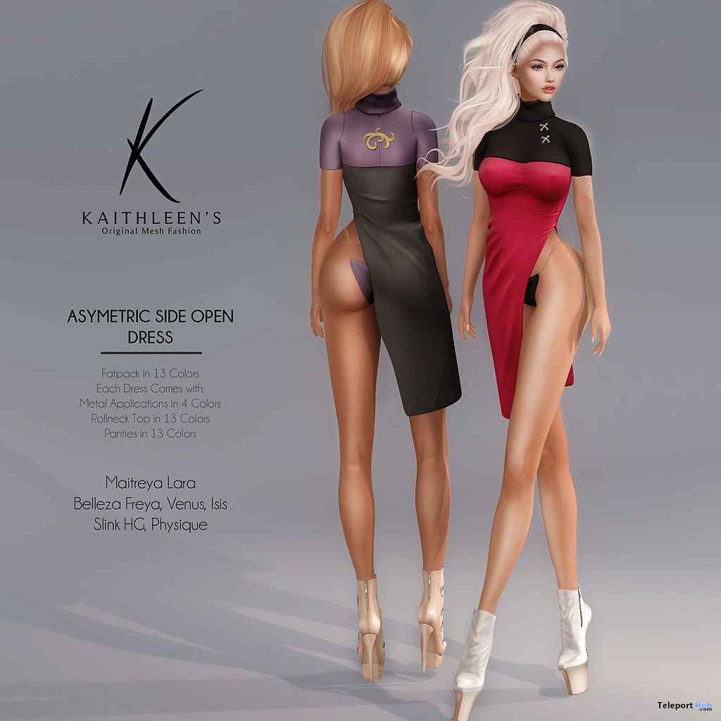 New Release: Asymetric Side Open Dress by Kaithleen's @ Shiny Shabby November 2017 - Teleport Hub - teleporthub.com