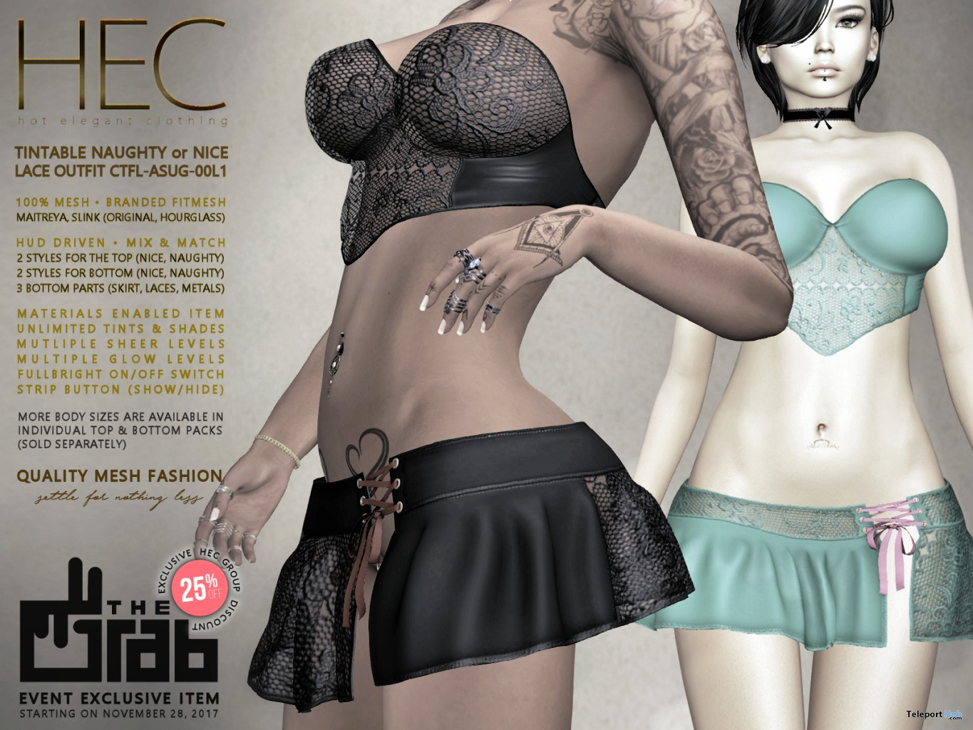 Naughty or Nice Lace Outfit 25% Off Group Discount Promo by HEC @ The Grab December 2017 - Teleport Hub - teleporthub.com