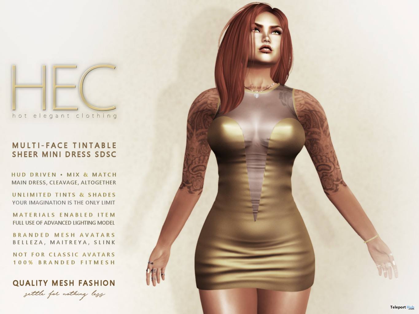 Mutli-Face Tintable Sheer Mini Dress 99L Promo by HEC - Teleport Hub - teleporthub.com