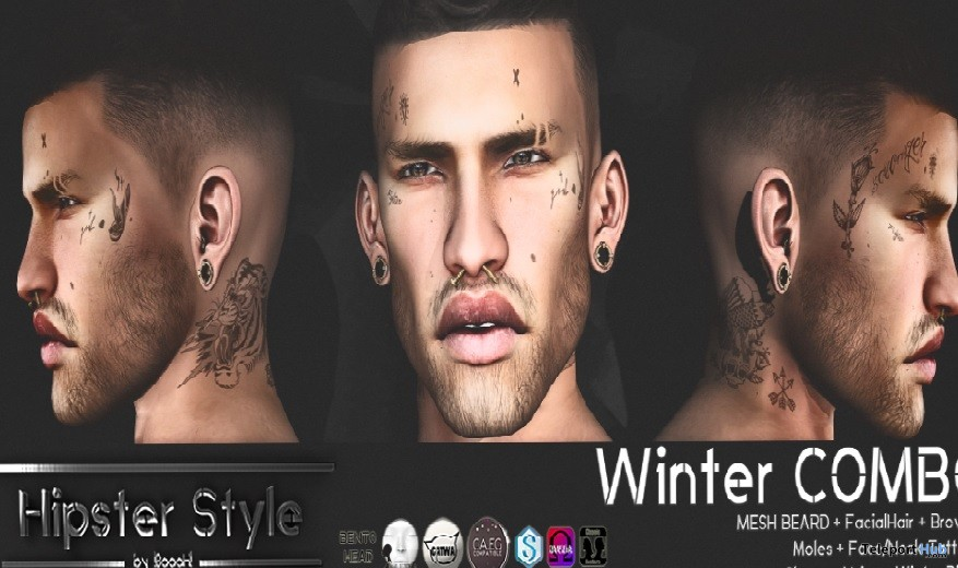 22d61511c Winter Combo: Beard & Face Tattoo Hipster Men November 2017 Group Gift by Hipster  Style