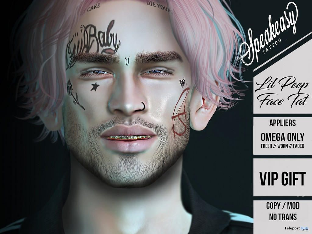 Lil Peep Face Tattoo December 2017 Group Gift By Speakeasy Teleport Hub Second Life Freebies