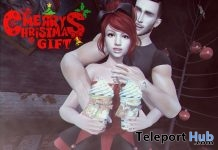 Merry Christmas Couple Bento Pose With Beverage Prop December 2017 Group Gift by Play Poses - Teleport Hub - teleporthub.com