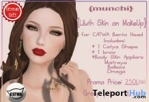 Liluth Skin On Makeup For Catwa Bento Head December 2017 Group Gift by Munchi - Teleport Hub - teleporthub.com