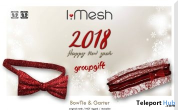 New Year Bowtie & Garter January 2018 Group Gift by i.mesh - Teleport Hub - teleporthub.com