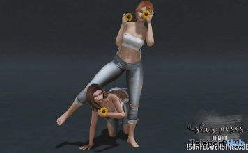 Friends No. 2 Bento Pose With Sunflowers Prop February 2018 Group Gift by Shi.S Poses - Teleport Hub - teleporthub.com