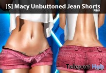 [S] Macy Unbuttoned Jean Short Pink Group Gift by [satus Inc] - Teleport Hub - teleporthub.com