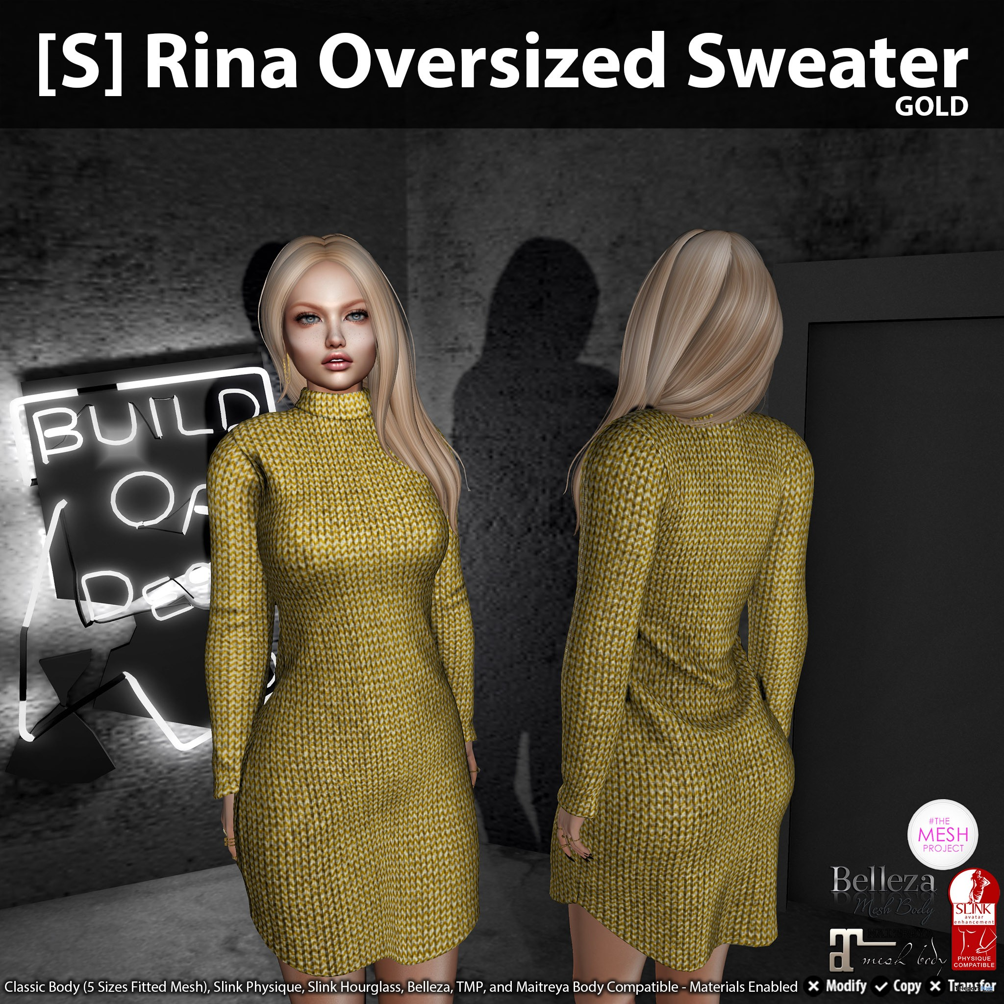 New Release: [S] Rina Oversized Sweater by [satus Inc] - Teleport Hub - teleporthub.com