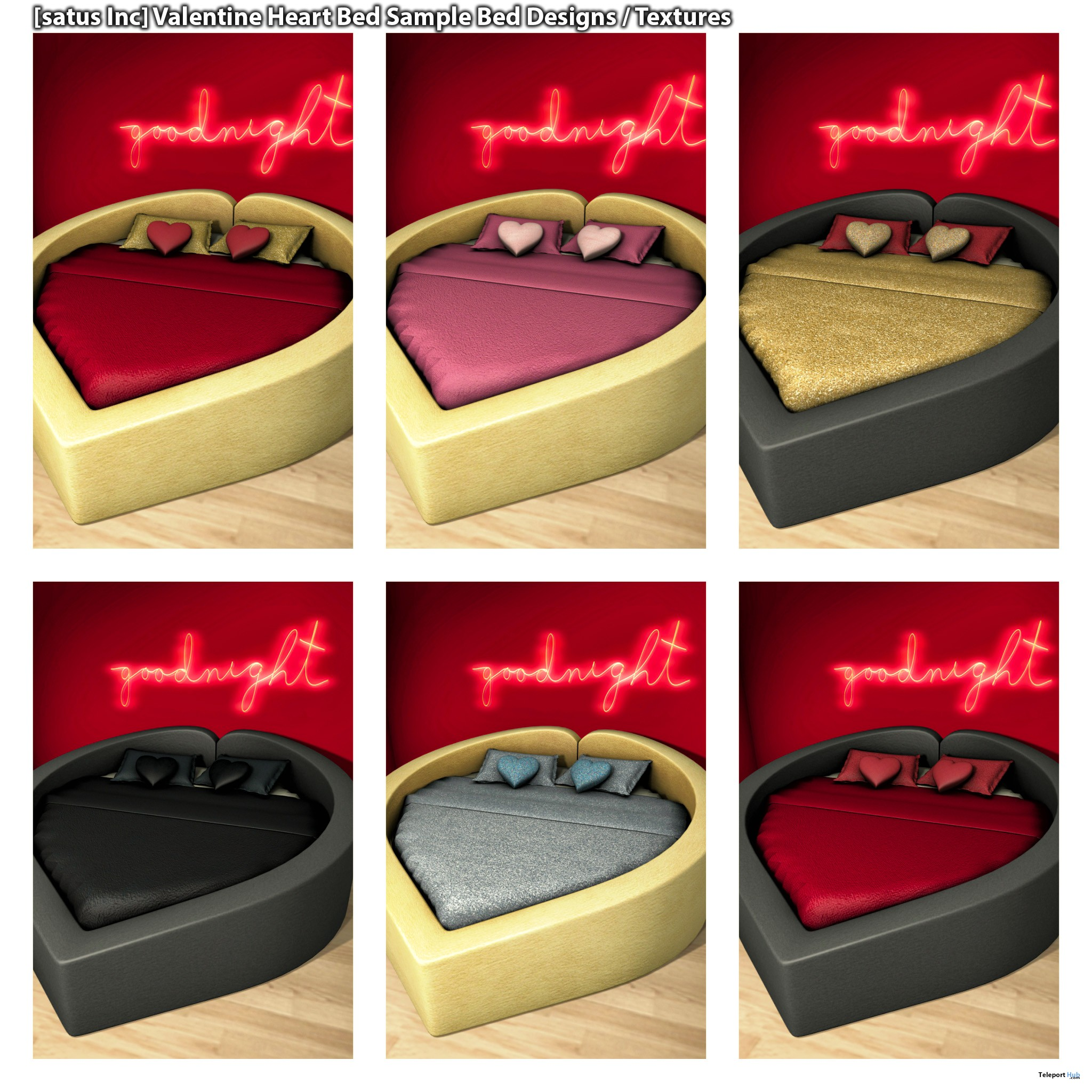 New Release: Valentine Heart Bed by [satus Inc] - Teleport Hub - teleporthub.com