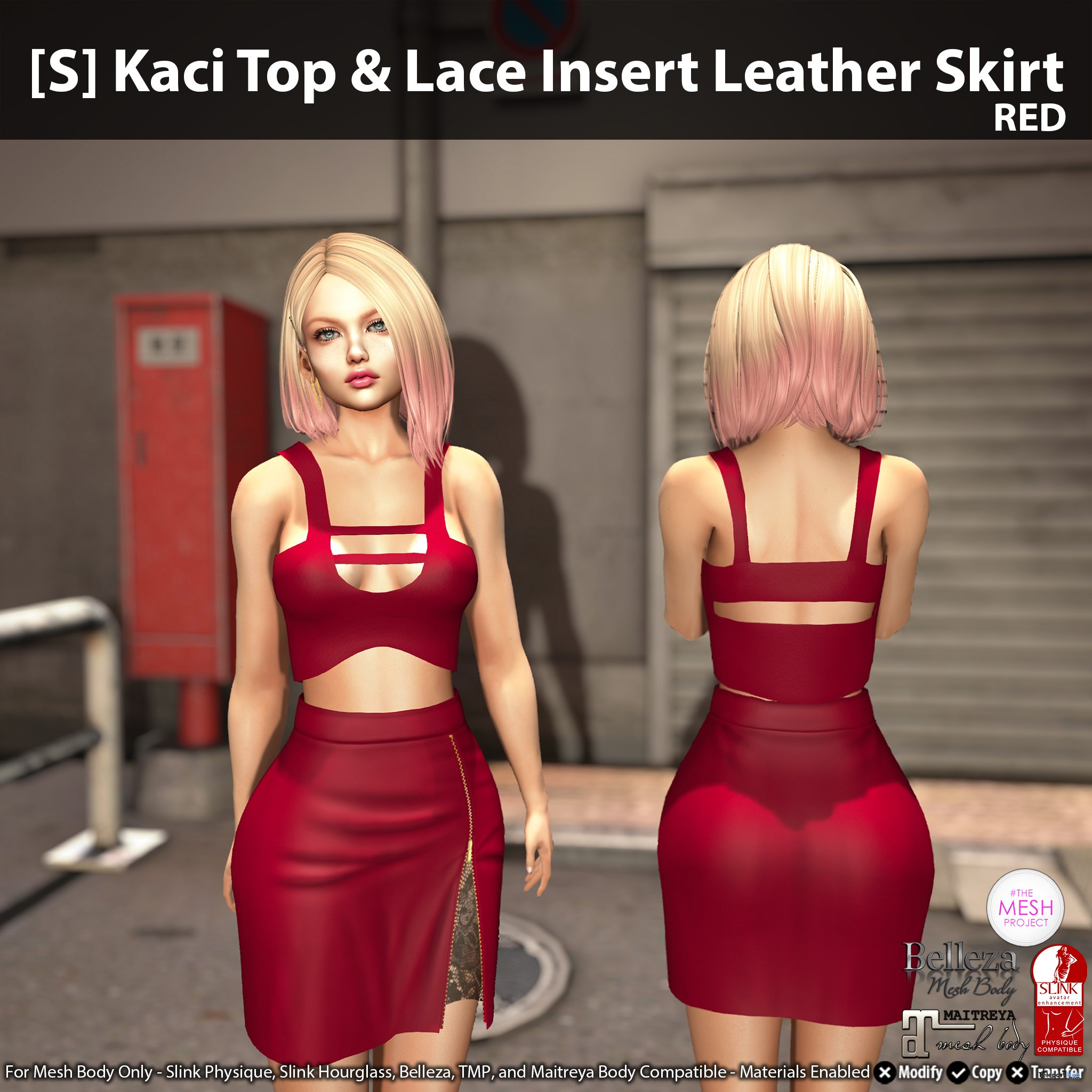 New Release: [S] Kaci Top & Lace Insert Leather Skirt by [satus Inc] - Teleport Hub - teleporthub.com
