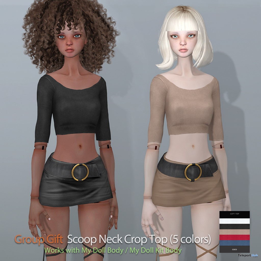 Scoop Neck Crop Top For MyDoll Avatar Group Gift by COCO Designs - Teleport Hub - teleporthub.com